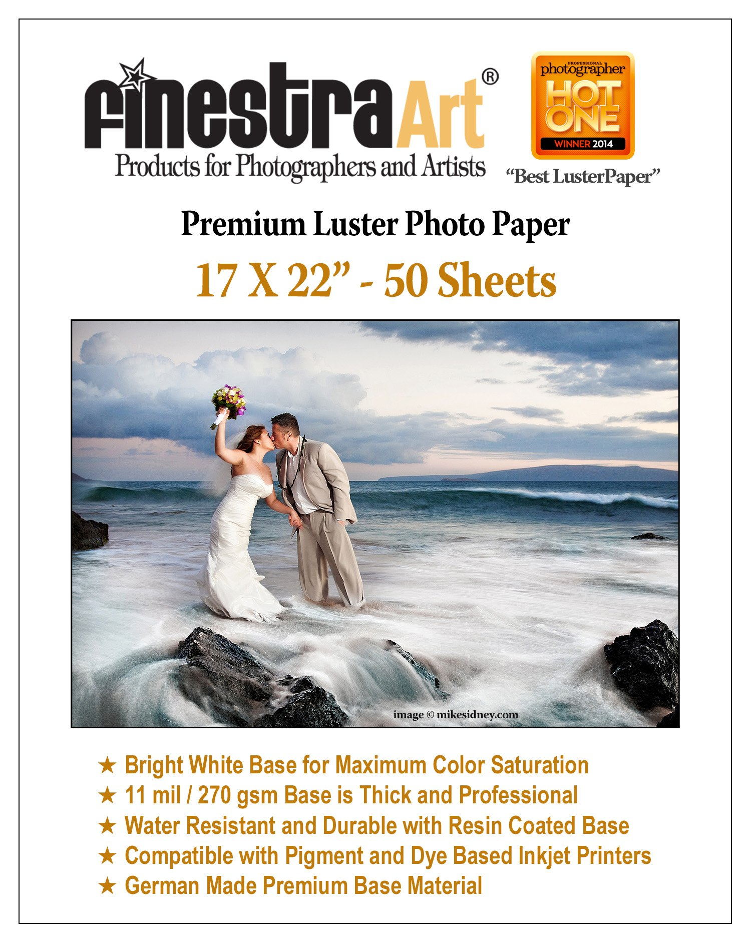 17'' X 22'' 50 Sheets Premium Luster Inkjet Photo Paper [Office Product]