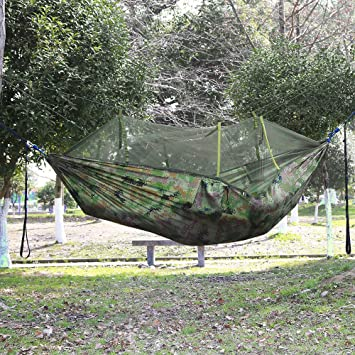 double person camping hammock with mosquito   nylon hanging bed 660lbs load capacity for garten outdoor double person camping hammock with mosquito   nylon hanging bed      rh   amazon co uk