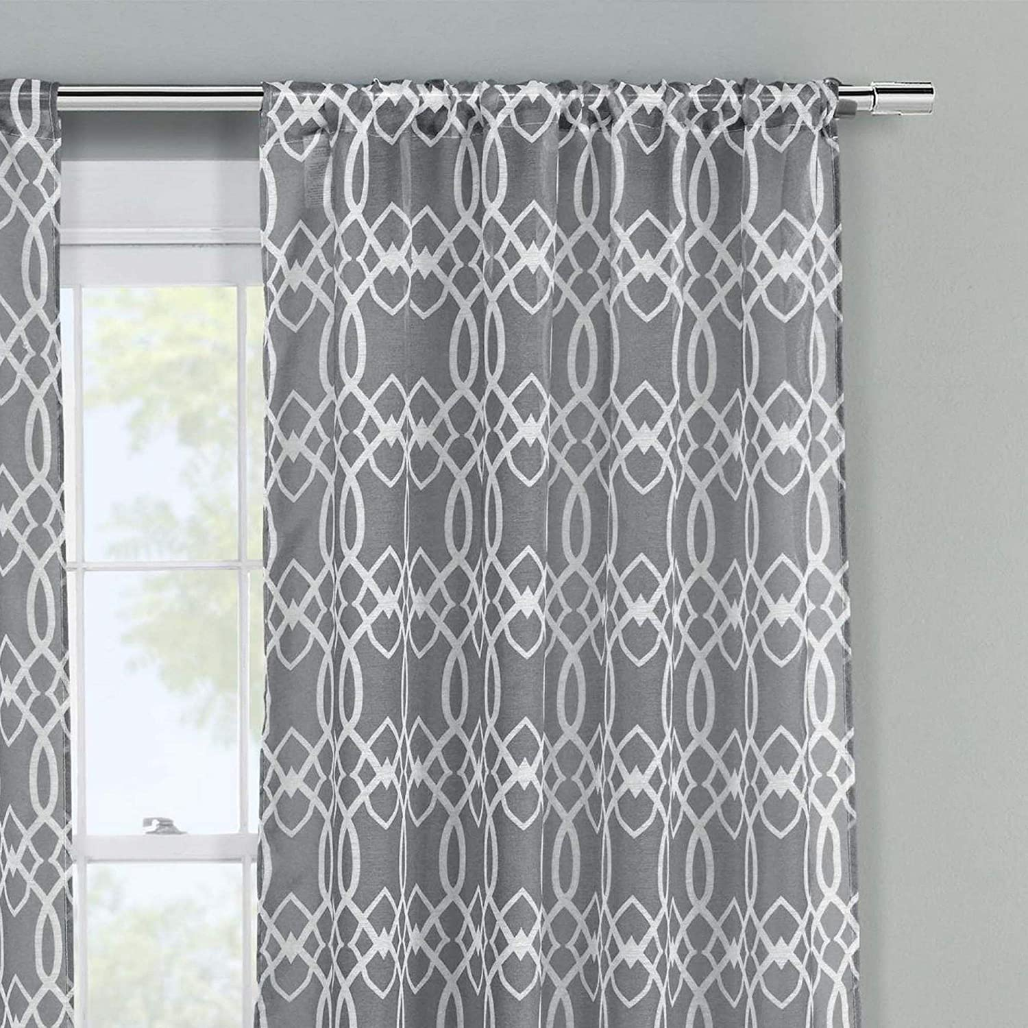 Newbella Printed Geometric Sheer Pole Top Window Curtains for Living Room /& Bedroom NBPTP=12 //10787 51 X 84 Inch - Taupe Set of 2 Panels Assorted Colors Duck River Textiles