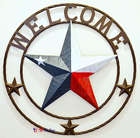 """Metal /""""WELCOME/"""" With Stars Circle Wall Hanging Decoration"""