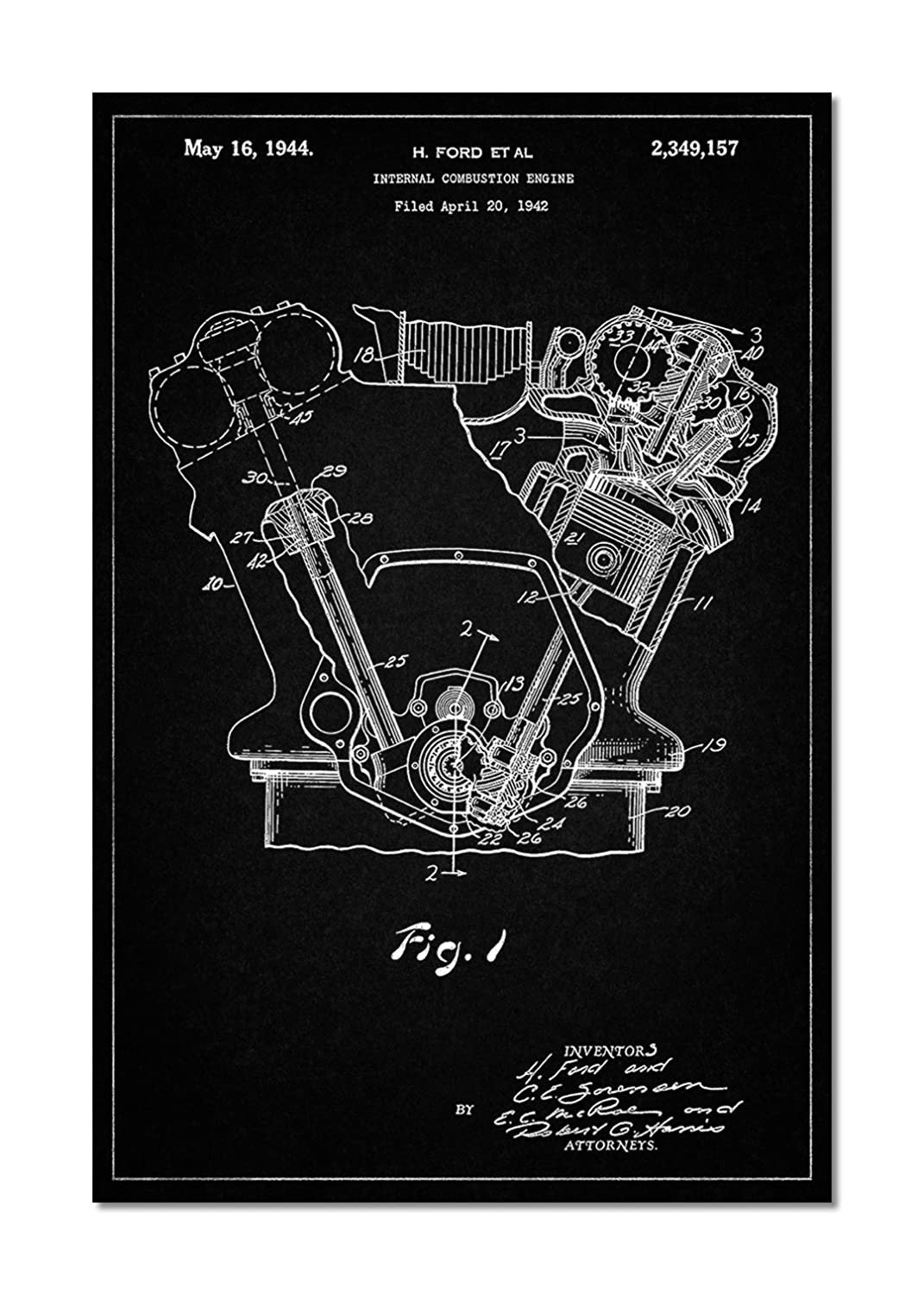 Ford Internal Combustion Engine Poster Posters Prints Illustrated Diagram Of A Basic