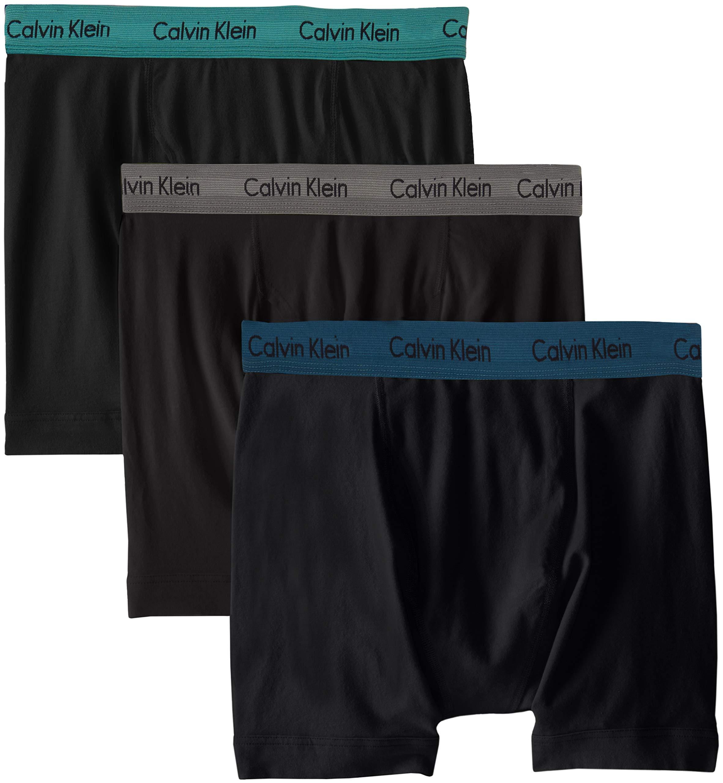 Calvin Klein Men's Cotton Stretch Boxer Briefs, Black/Grey Sky/Majolica/Raleigh (3 Pack) X-Large
