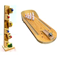 Crafts India Hand Crafted Wooden Miniature Bowling Game and Wooden Marble Slider Toy - 6 Buckets Combo - 29 cms