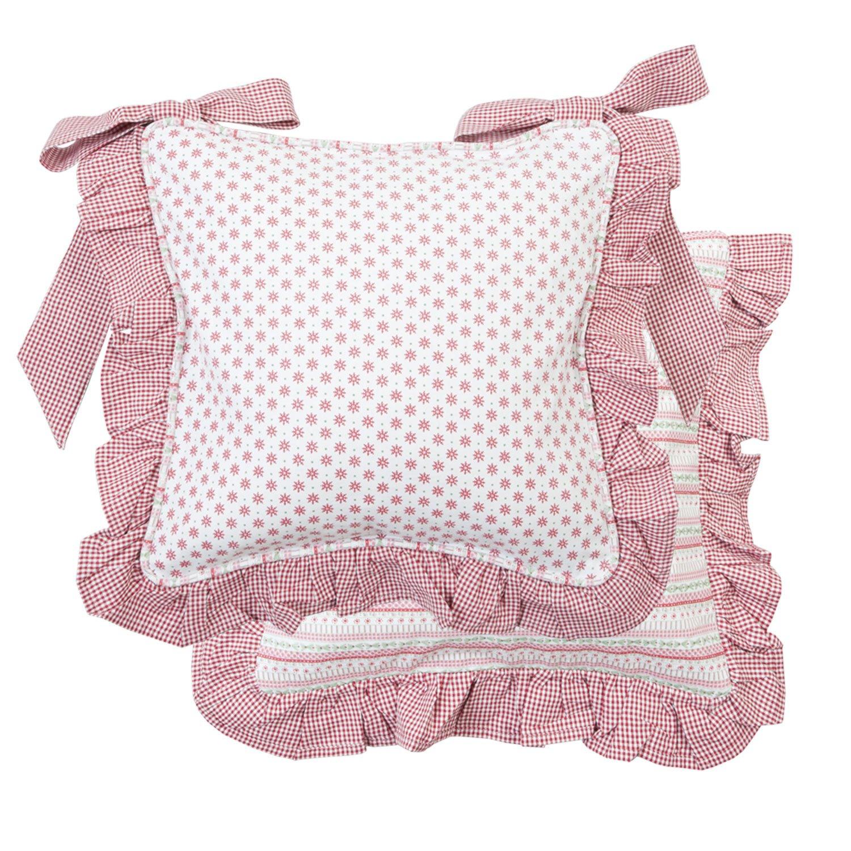Clayre & Eef silla Cojín rosa con volantes 40 * 40 cm - Asiento ...