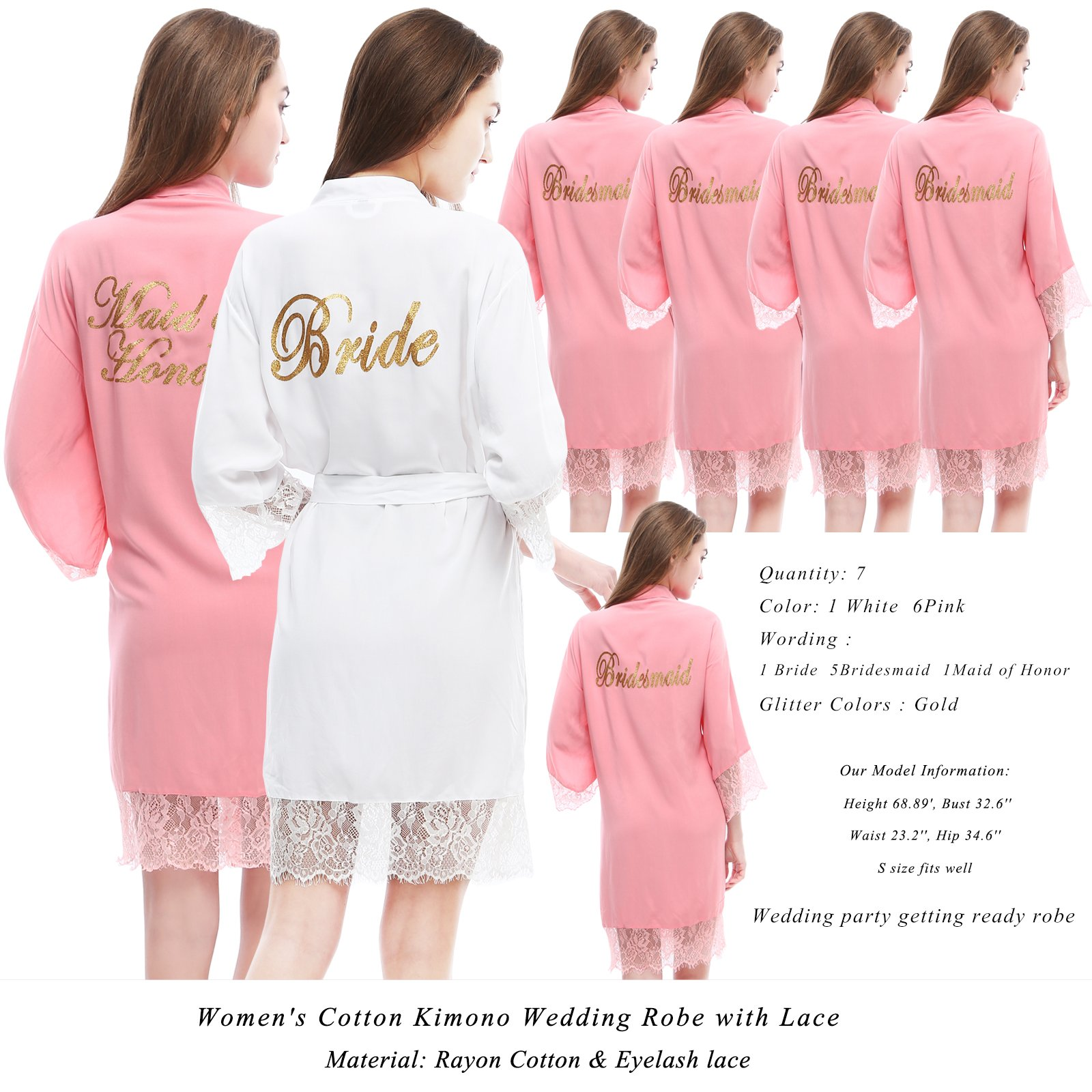 PROGULOVER Bridesmaid Robes Set Of 7 Women's Cotton Kimono Robe For Bridal Maid OG Honor Wedding Party Getting Ready Robe