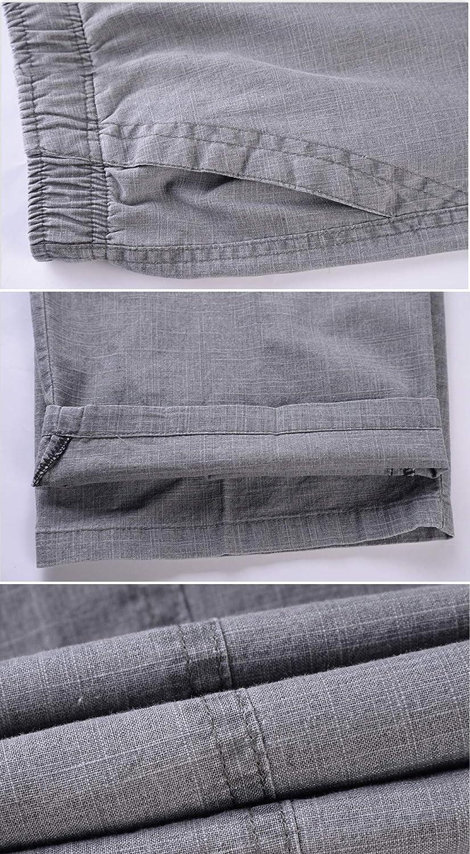 Yeokou Mens Elasctic Waist Summer Thin Relax Fit Long Linen Pants Trousers