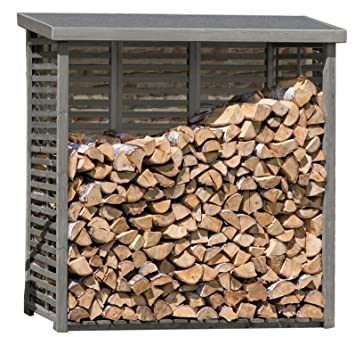 Gartenpirat Kaminholzregal Mit Ruckwand Fur Ca 2 M Holz In Grau