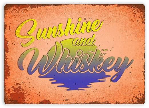 Sunshine and Whiskey Póster De Pared Metal Retro Placa ...