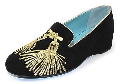 best value c8c59 dd9a3 Amazon.com | Thierry Rabotin Women's Serra Black Suede/Gold ...