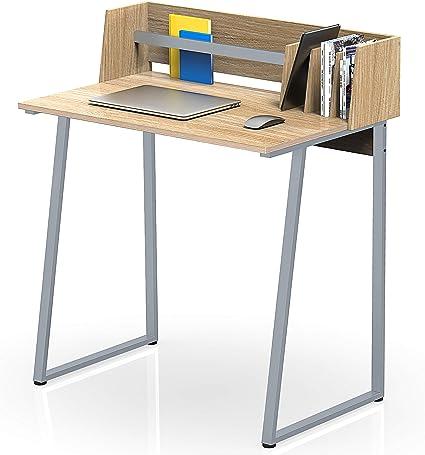 FITUEYES Mesa de Ordenador Madera Oak con Estantería Escritorio para Oficina Hogar Estudio 82,4x51,2x93,5cm CD108206WO
