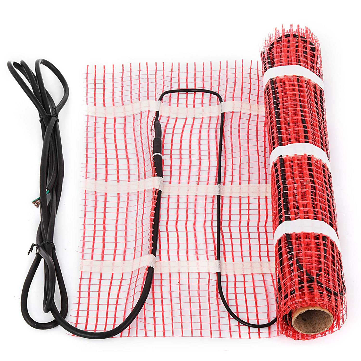 Happybuy 15 Sqft 120V Electric Radiant Floor Heating Mat Self-Adhesive Mesh Floor Heat Mat Underfloor Tiles Home Commercial Radiant Floor Warming Systems Mats (15sqft)
