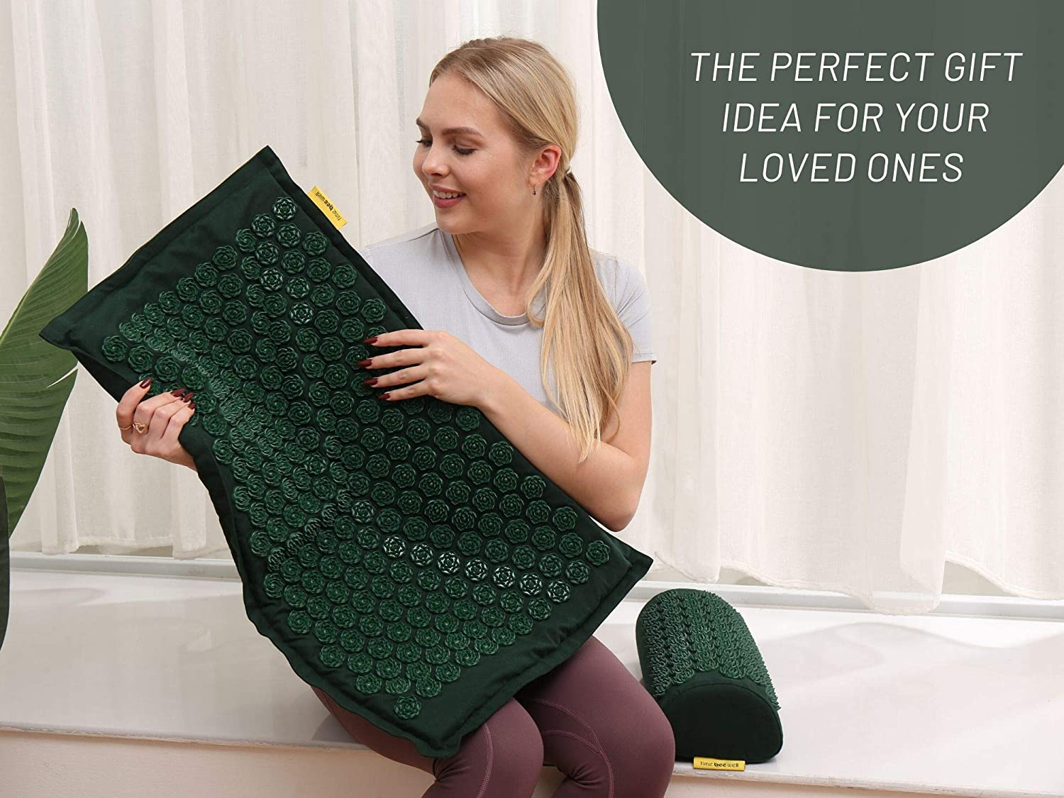 Eco-Friendly Acupressure Mat and Pillow Set - Back and Neck Pain Relief (Green)