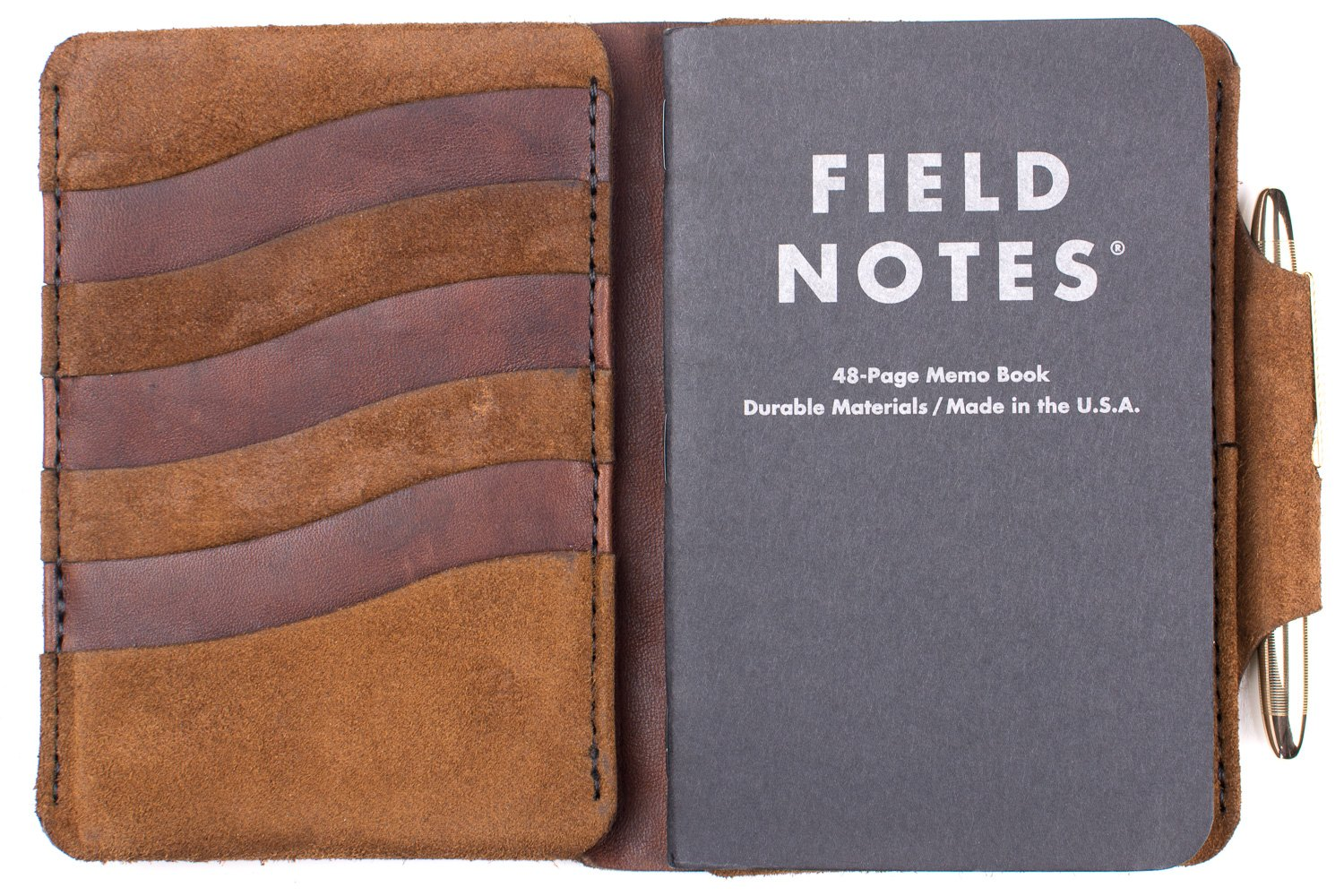 Form Function Form Men's Field Notes Wallet Tobacco Suede Mustang/Brass Pen