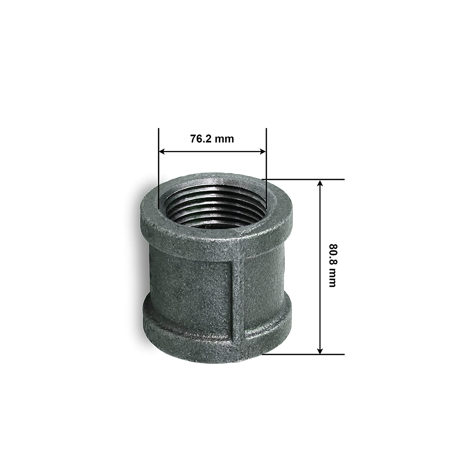 Everflow BMCPL400 4 Straight Malleable Iron Coupling With Black Coating And With Banded Ends