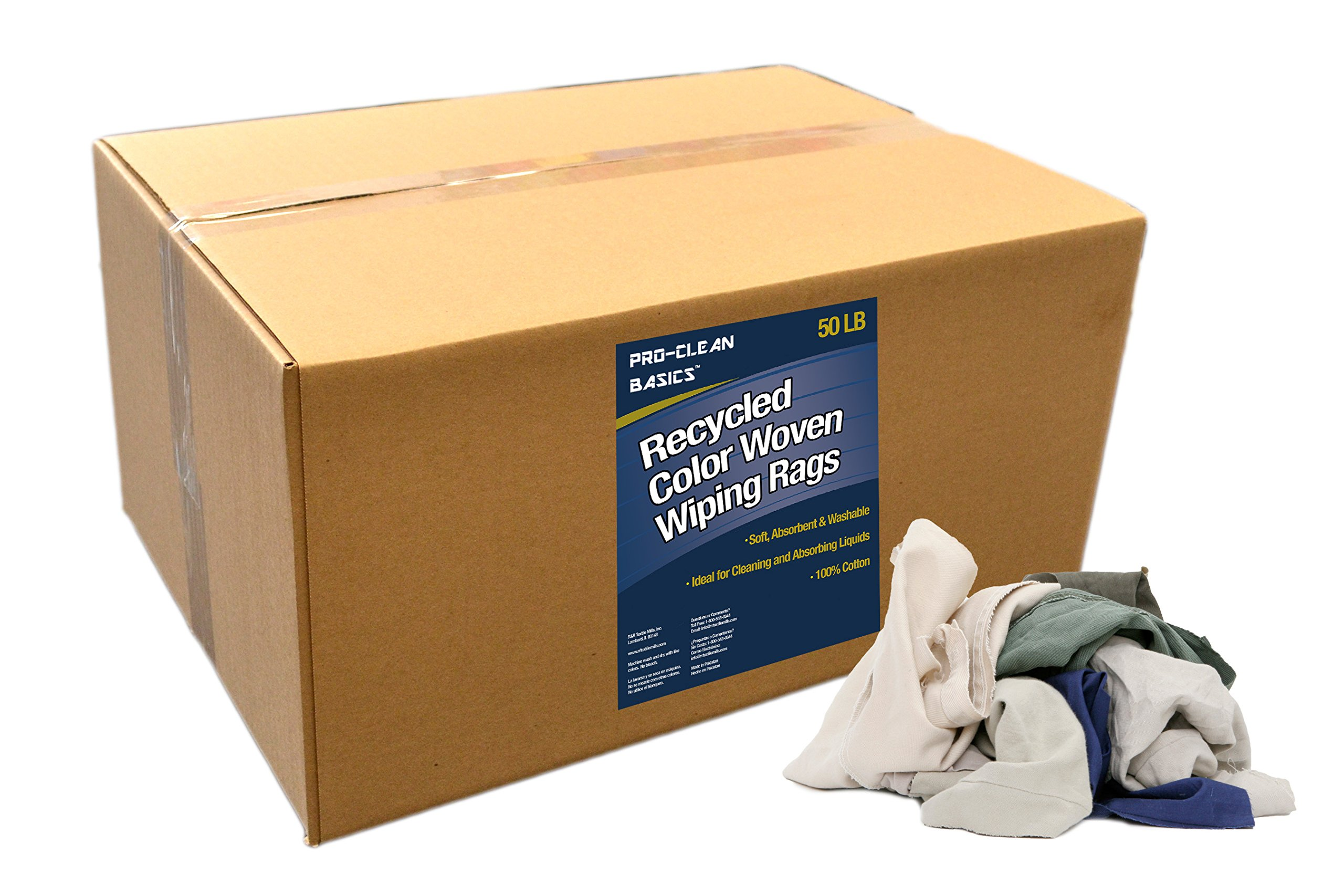 Pro-Clean Basics 99602 Recycled Color Woven Wiping Rags, 50 lb. Box
