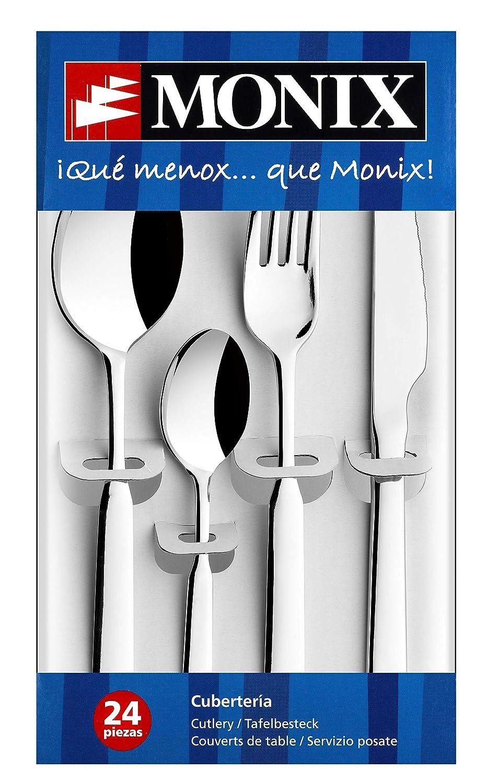 Monix Europa - Set de cubiertos 24 piezas de acero inoxidable con cuchillo chuletero, acabado pulido brillo.
