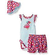 Gerber Baby Three-Piece Bodysuit, Bloomer and Tulip Hat Set, Flamingo, 0-3 Months