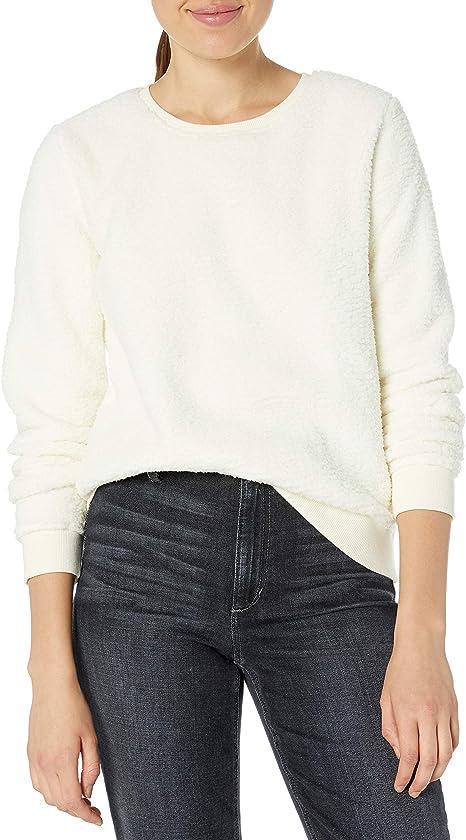 Lucky Brand Damen Sherpa Scoop Neck Pullover Sweatshirt Hemd