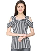Jollify Women's Polyester Cold Shoulder Top