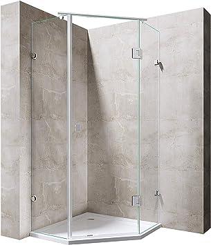 doporro Cabina de ducha Pentagonal Ravenna42 100x100x192cm mampara de vidrio templado de 8mm de seguridad ESG