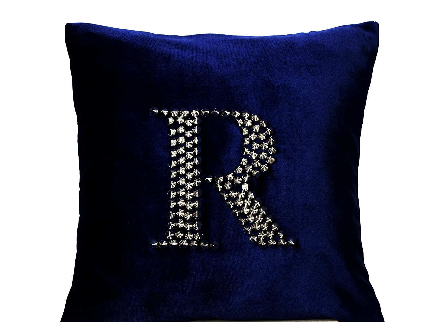 Amazon.com: Amore Beaute Handcrafted Navy Blue Velvet Pillow Cover ...