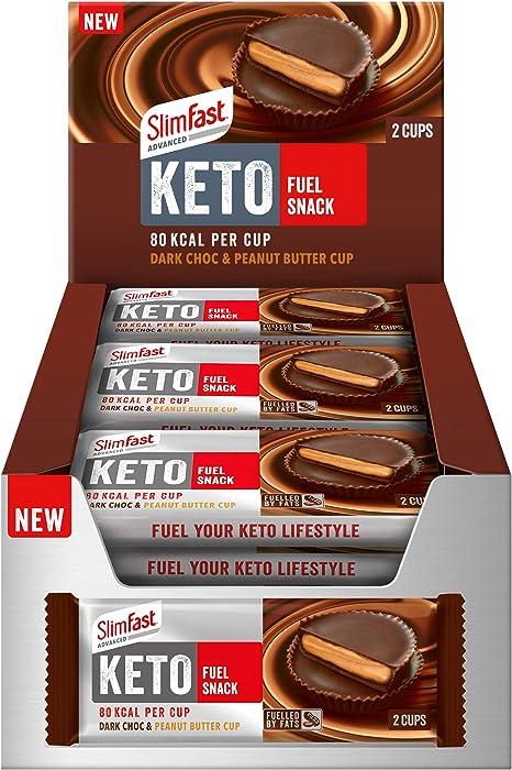 SlimFast Keto Dark Chocolate Peanut Butter Cups, Advanced Keto Snack