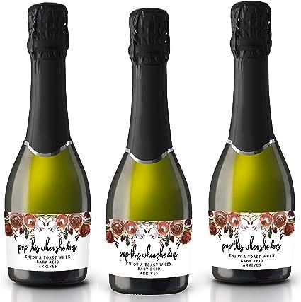 Baby Shower Mini Champagne Bottle Labels Gold Baby Shower Champagne Labels Pop It When She Pops Baby Shower Champagne Labels