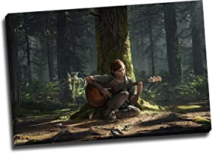 "ARYAGO The Last of Us - Part 2 Artwork Painting 28"" x 20"" Print Framed Game Concept Poster Ellie Playing Guitar Wall Art Prints Office Home Decor Artwork, Stretched and Ready to Hang"