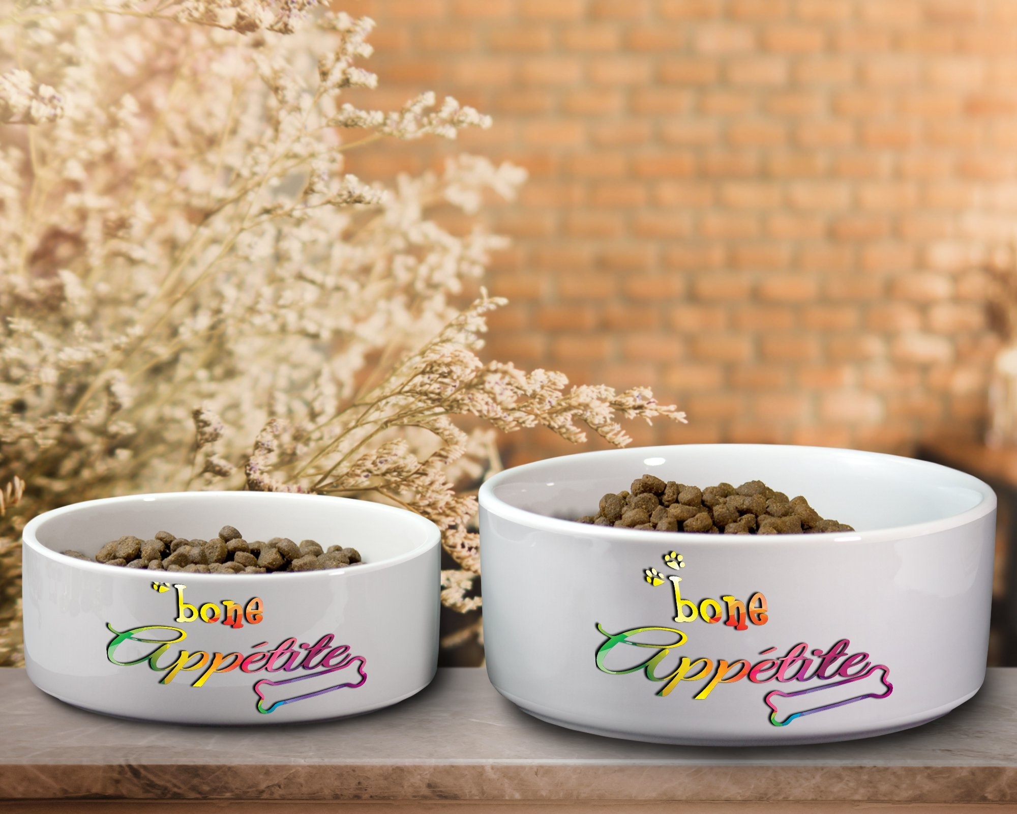 Bone Appetite Colorful Ceramic Dog Water or Food Bowl - Small or Large Available