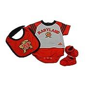 Outerstuff Maryland Terrapins Baby Clothing, University 3 Piece Creeper Bib Booties Apparel Set