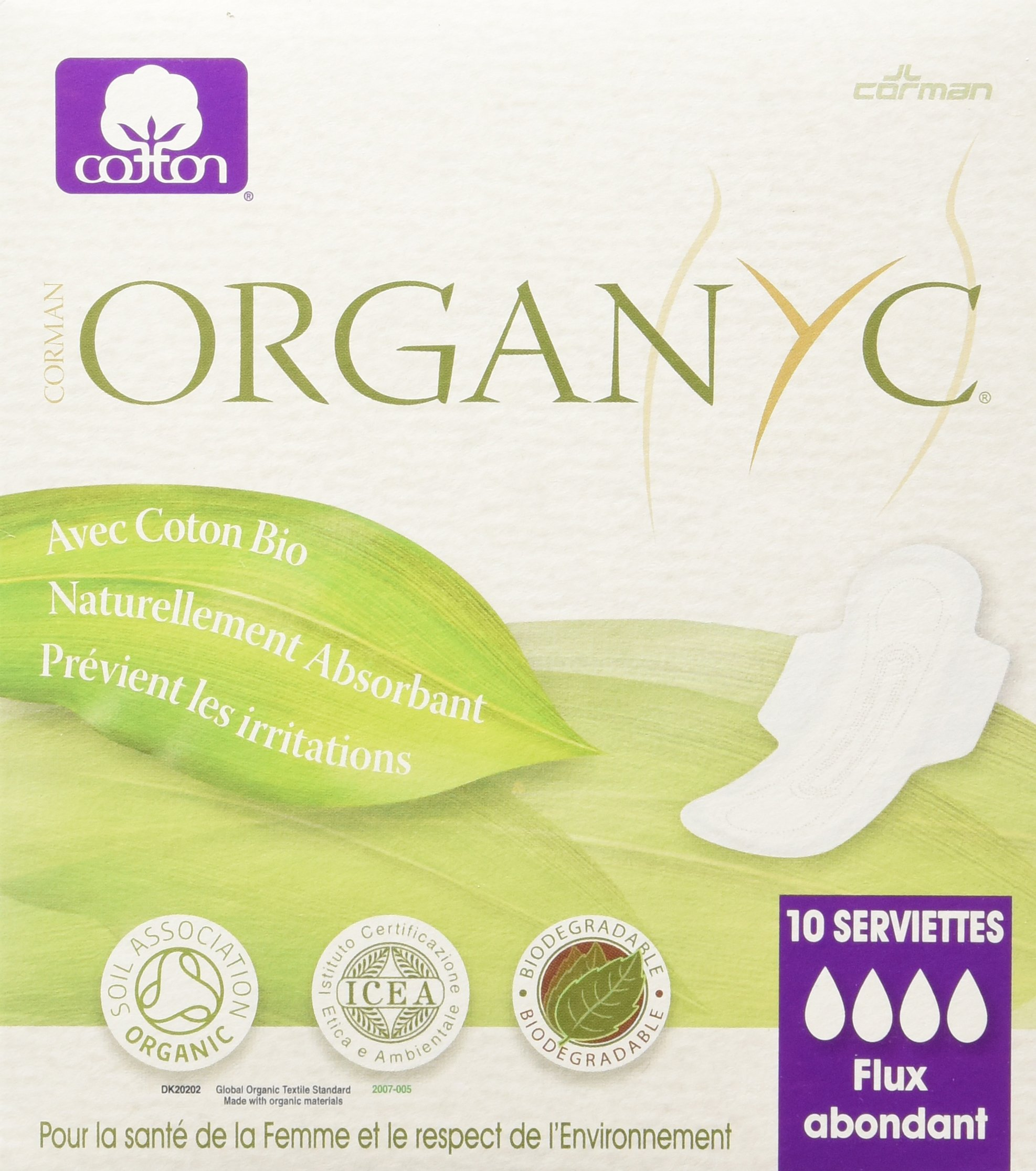ORGANYC Hypoallergenic 100% Organic Cotton Pads Night Wings, 10-count Boxes (Pack of 2)