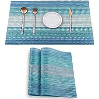 HeloHo Placemats Set of 2,Heat-Resistant Kitchen Table Mats Washable Placemats Non-Slip Crossweave Woven Vinyl Placemat…