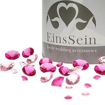 100x Funkelnde Diamantkristalle Acryl 12mm pink Diamanten Dekosteine Hochzeit