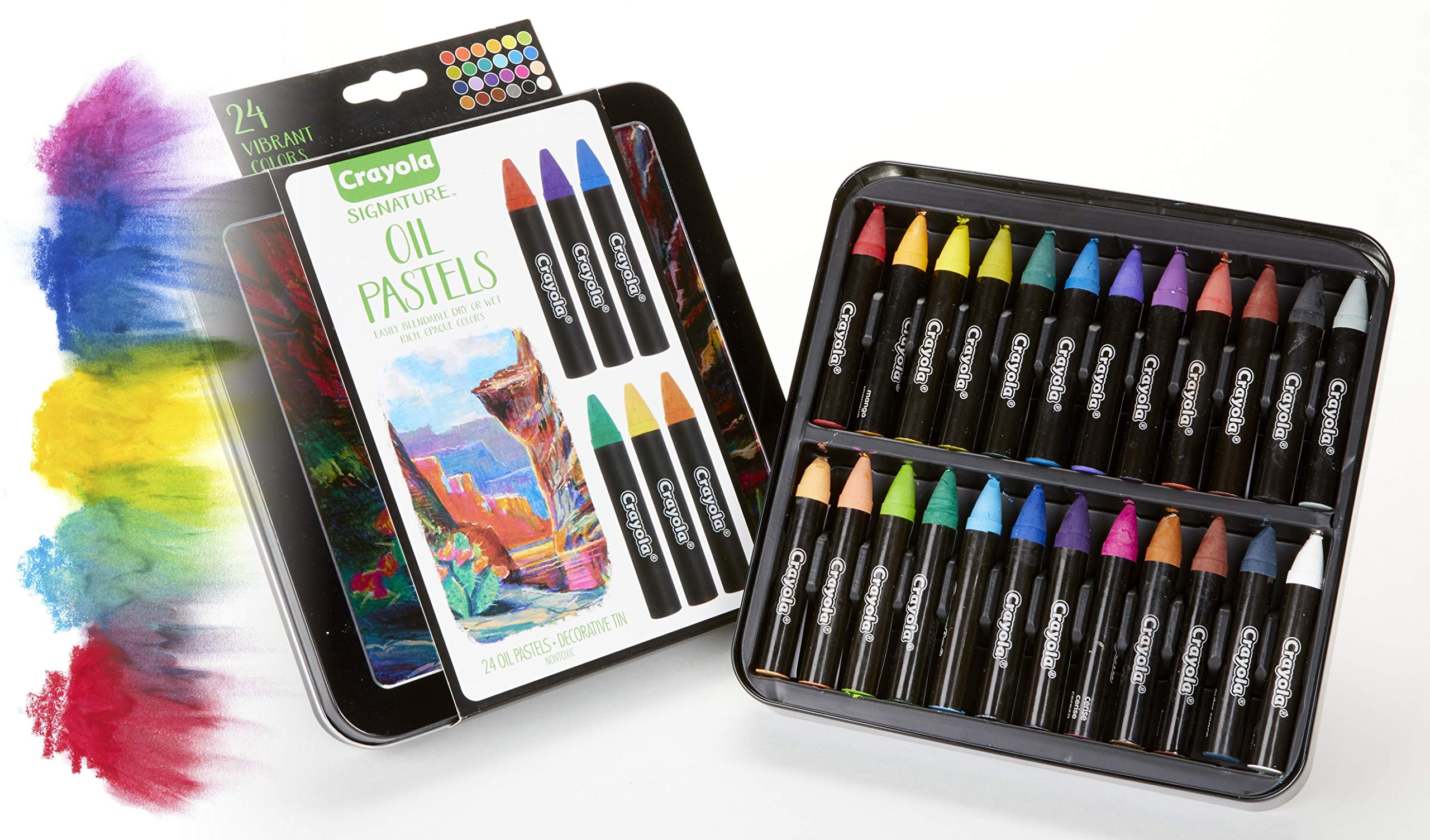 Crayola Oil Pastel Set with Decorative Case, Water-Soluble, Great For Watercolor Effects, 24 Colors by Crayola