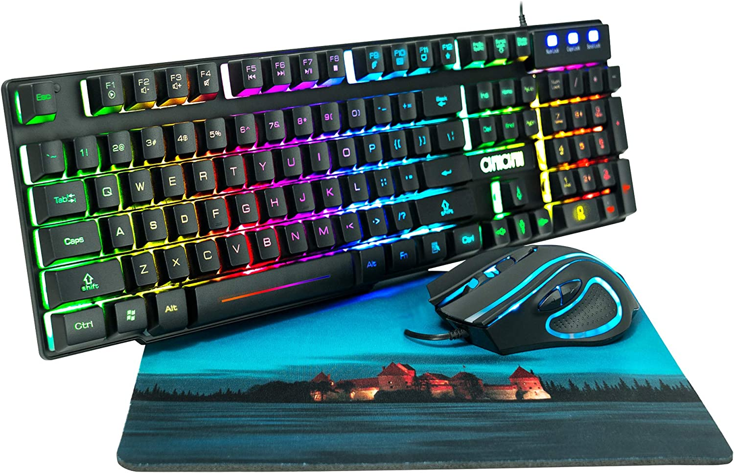 RGB Gaming Keyboard and Mouse Combo CHONCHOW 991b Rainbow Led Backlit 7 Colors Office Device Ergonomic Keyboard with Mice 3200 DPI Adjustable Compatible with PS4a/Ps3 Xbox one Windows Mac PC