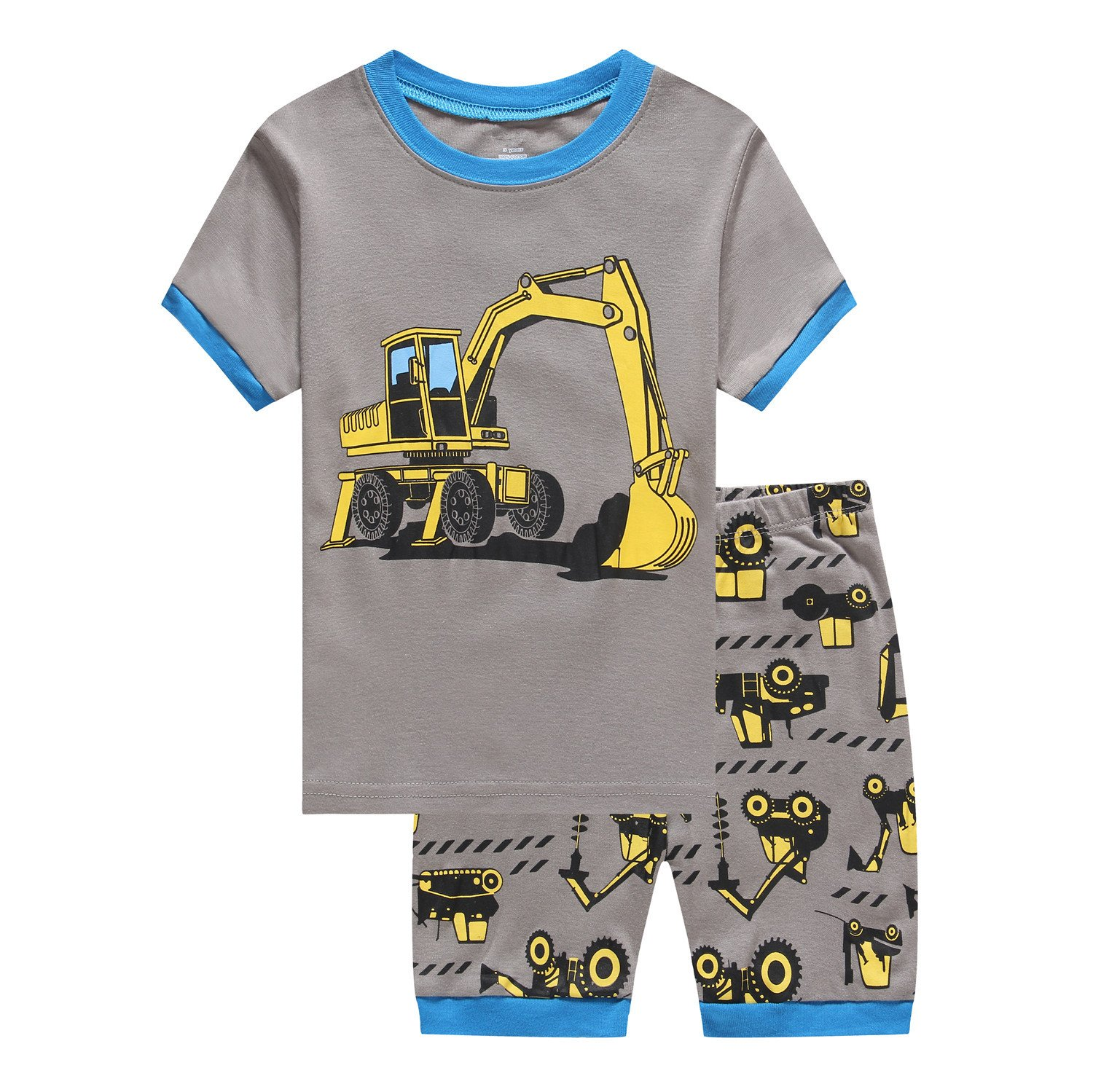 Cczmfeas Boys Short Pajamas Set Children Cartoon PJs Kids Long Sleeves Sleepwear 2 Piece