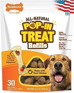Nylabone Pop-in Dog Treat Refills for Treat Toy Combo Chicken Flavor 30 Count