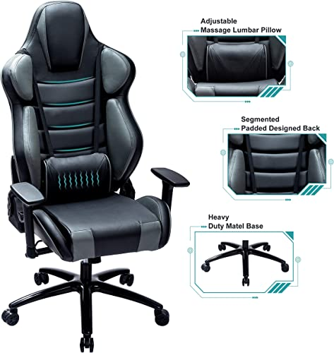 Blue Whale Massage Gaming Chair with Metal Base,Thickened Seat Cushion,Segmented Padded Designed Back,Adjustable Aluminum Alloy Armrest,Swiving PU Leather Office Game Chair 8361-1GREY
