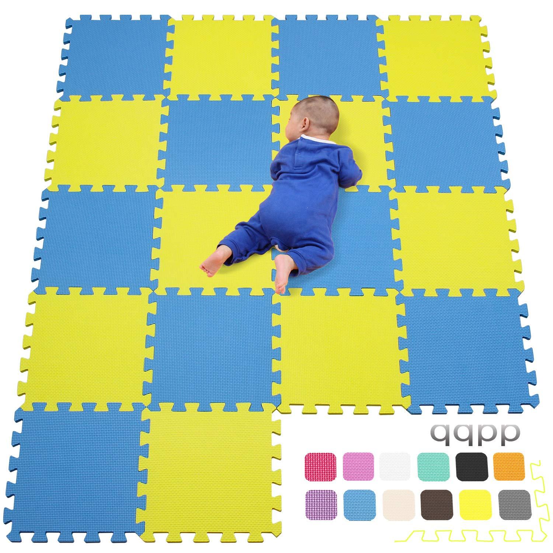 QQC-EGb18N 30*30*1cm Tatami Giallo /& Blu Tappeti da Gioco per Bambina 18 Pezzi qqpp Tappeto Bambini Puzzle con Certificato CE in Morbido Gomma Eva