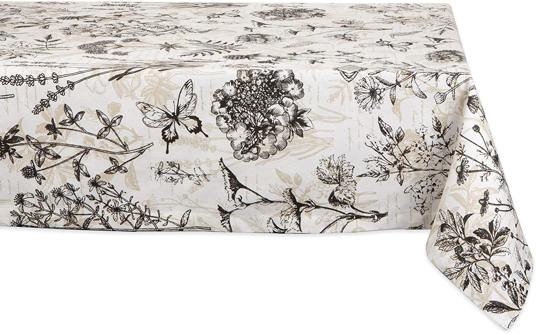 Vintage Damask Linen Square Tablecloth Large Floral Design Never Used 52 Square Free US Ship