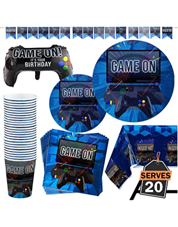 b35db8cec 83 Piece Video Gaming Party Supplies Set Including Banner, Plates, Cups,  Napkins,