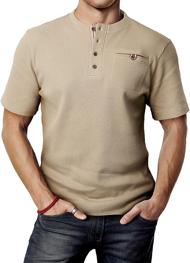 Goodthreads EU XXXL - 4XL Camiseta de manga corta estilo henley para hombre Burgundy US XXL Marca