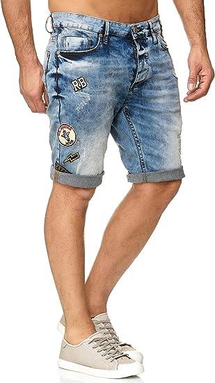 TALLA 30W. Redbridge Hombres Denim Pantalón Corto Parches Destruido Moda Verano Jeans