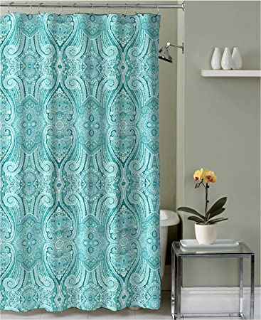 Amazoncom Turquoise Teal Grey White Fabric Shower Curtain