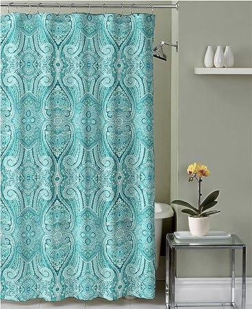 Amazoncom Turquoise Teal Grey White Fabric Shower Curtain