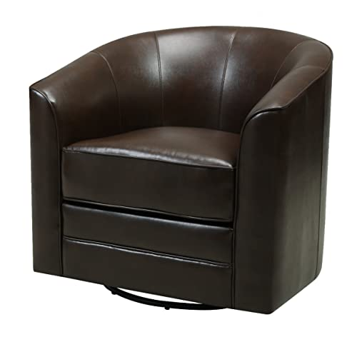 Emerald Home Milo Brown Accent Chair with Faux Leather Upholstery, Welt Trim, And Curved Back