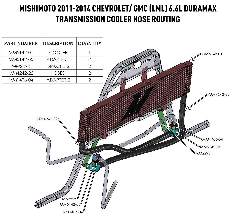 Mishimoto MMTC-DMAX-11SL Silver Transmission Cooler for 2011-2014 Chevrolet//GMC 6.6L Duramax LML