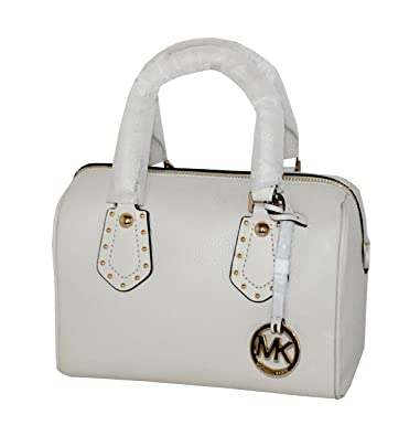 1a3898868c84 MICHAEL Michael Kors Women s ARIA Small Leather Satchel Studded Handbag  (ECRU)  Handbags  Amazon.com