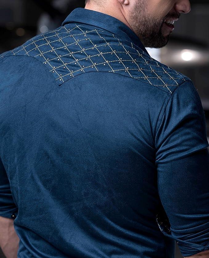 ae6b6ef2 Ranger's Rafael Amaya Luxury Collection Capitone Style Long Sleeve Shirt at  Amazon Men's Clothing store: