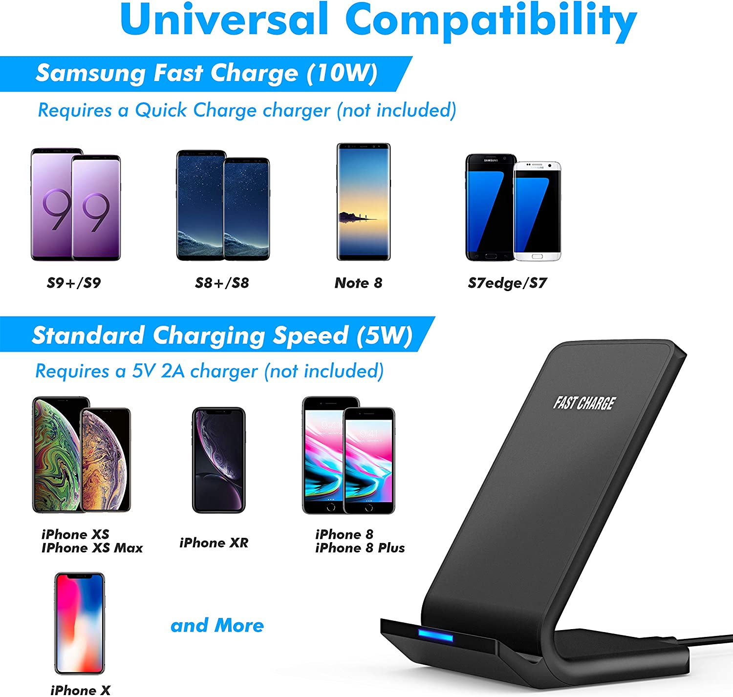 No AC Adapter XS Max AHUTORU Fast Wireless Charger XS XR Note 10,9 11 Pro Samsung S10 S9 S8 11 Pro Max X Qi-Certified 10W Wireless Charging Stand with Quick Adapter,Compatible with iPhone 11